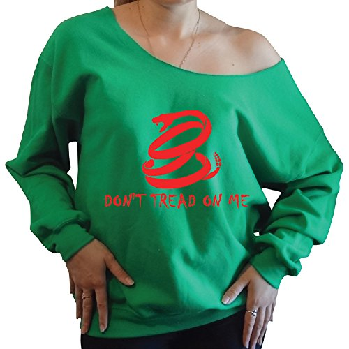 Don'T Tread On Me Slouchy Oversized Off The Shoulder Sweatshirt Medium, Green