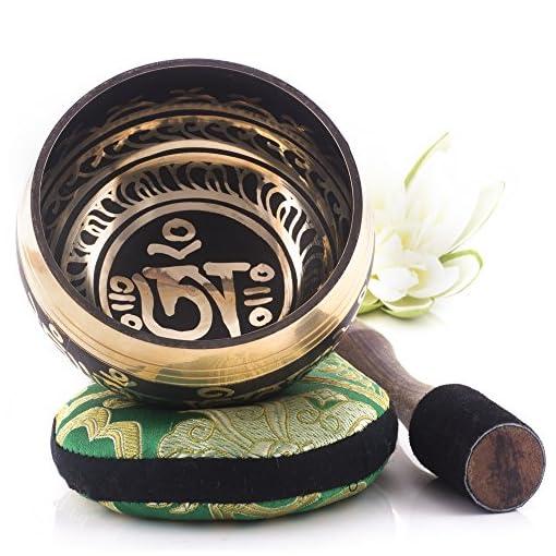 Tibetische-Klangschale-Om-Mani-Padme-Hum-Design-Vollstndiges-Set-mit-Klppel-und-Kissen-Made-in-Nepal
