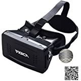 VIGICA Virtual Reality VR Headset DIY 3D Video Glasses Movies Games Virtuelle Realität Glasses Adjustable Strap with Magnet Controller for 3.5-6 inch iPhone 6 plus Samsung Android Smartphone