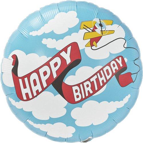 Birthday Plane Banner Helium Foil Balloon - 18 inch