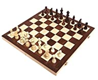 Chess Armory 15″ Wooden Chess Set with Felted Game Board Interior for Storage