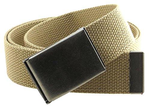 """Canvas Web Belt Flip-Top Antique Silver Buckle/Tip Solid Color 50"""" Long 1.5"""" Wide (Khaki)"""