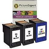 56 ( C6656ae ) x 2 & 57 ( C6657ae ) x 1 Remanufactured Black & Colour Ink Cartridge Pack for HP Printers