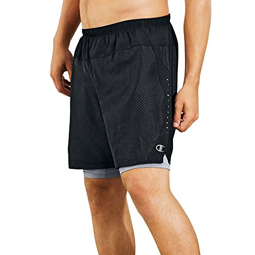 Champion Mens Cool Ctrl Run Shorts With Compression_Black/Concrete_M (Champion Compression Pants Women compare prices)