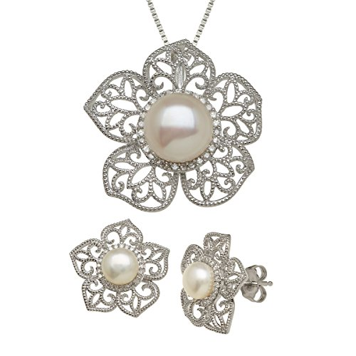 Freshwater Cultured Pearl & Diamond Flower Pendant & Earring Set in Sterling Silver