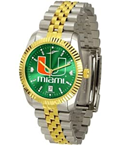 NCAA Miami Hurricanes Stainless Steel Mens Executive Watch by SunTime