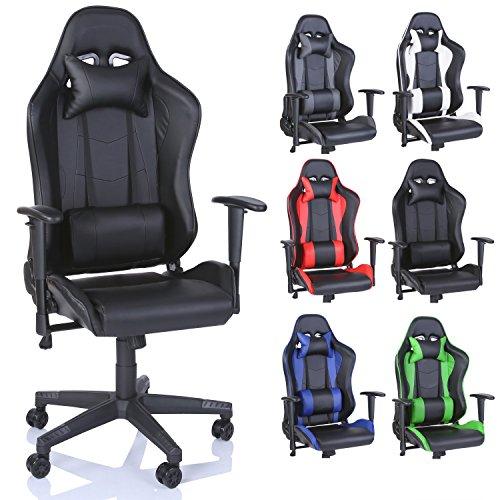 Racing-Drehstuhl-Brostuhl-Sportsitz-Chefsessel-Gaming-Stuhl-6-Farbvarianten-Wippmechanik-stufenlos-verstellbare-Rckenlehne-Schwarz
