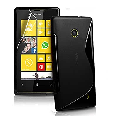 Connect Zone® Nokia Lumia 520 Black S Line Silicone Gel Case Cover + Screen Guard And Polishing Cloth