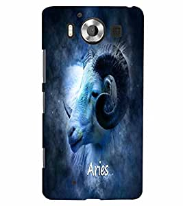 PrintVisa Zodiac Aries 3D Hard Polycarbonate Designer Back Case Cover for Nokia Lumia 950