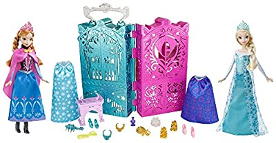Disney Frozen Dual Vanity with Sparkle Princess Anna and Elsa Doll Gift Set by Mattel