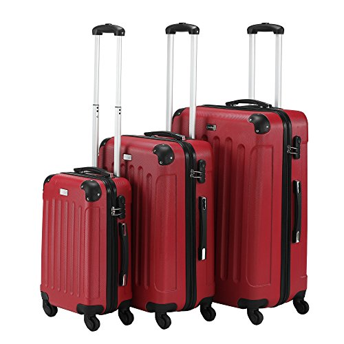 VonHaus-3-Piece-Red-Lightweight-Sturdy-ABS-Hard-Shell-Luggage-Set