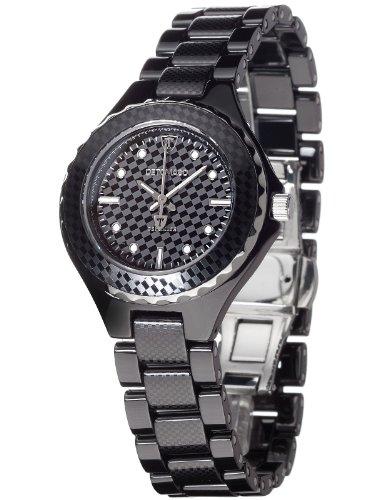 Detomaso FEDERICA Black DT3010-A Ladies DT3010-A - Reloj analógico de cuarzo para mujer, correa de cerámica color negro (agujas luminiscentes)