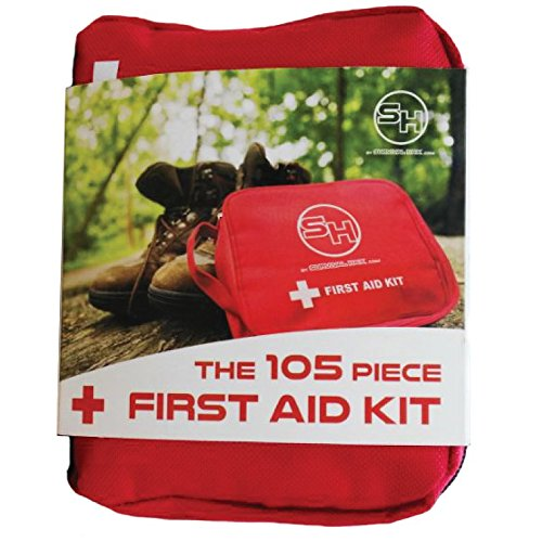 First Aid Kit - Emergency Survival Bag for Hiking, Camping, Travel, Cars, and Bug Out Bags - 105 Pieces (Small)
