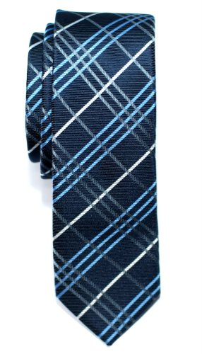 Retreez Tartan Check Styles Woven Microfiber Skinny Tie - Navy Blue (Mens Retreez Skinny Ties compare prices)
