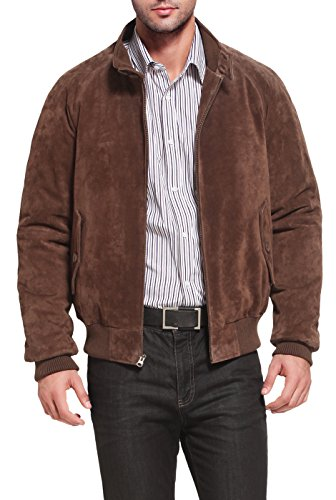 Landing Leathers Men`s WWII Suede Leather Bomber Jacket - Brown M