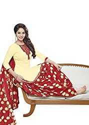 Gugaliya Women's ROYAL CLASS Premium CELEBERATION Series 100 % Cotton UNSTICHED Light Cream / Red color Salwar, Kameez & Dupatta Suit (Baalar 414)