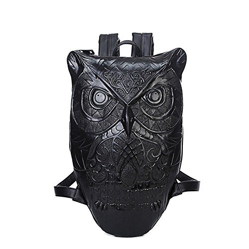 Aibag Unisex Graphic Embossed Leather 3D Owl Purse Satchel Backpack