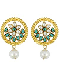 Gehnamart Yellow Gold Plated Pearl And Turquoise Stud Earring