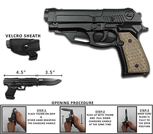 Rogue River Tactical Black with Brown Beige Wood Pakkawood Grip Gun Pistol Spring Assisted Tactical Pocket Knife Belt Holster ...