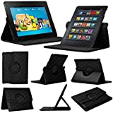 Black Fire HD 7 (3rd Generation/2014 Model) Case - Leather Smart Case with 360� Rotating Swivel Action for Portrait and Landscape Orientation with Free Screen Protector and Stylus Touch Pen by Stuff4�