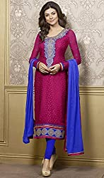 Aayushman Marvelous Magenta Semi Stitched Brasso Suit