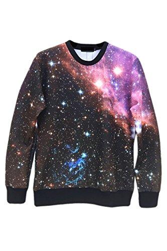 Pink Wind Pullover Long Sleeve Tie Dye Galaxy Print Sweatshirt T Shirt(45)