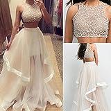 CANIS Womens 2pcs Sleeveless Champagne Ruffles Floor Length Prom Evening Dress