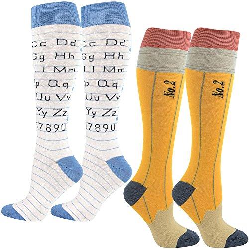 (Set) Pencil and Alphabet Knee High Socks Womens Fashion Footwear Hosiery