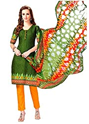 AMP IMPEX Ethnicwear Women's Dress Material Green Free Size