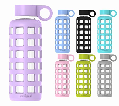 purifyou Premium Glass Water Bottle with Silicone Sleeve & Stainless Steel Lid Insert, 12 / 22 / 32 oz (Top Ten Juicers compare prices)