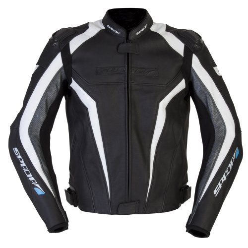 Nouveau Spada moto cuir veste Corsa GP noir/blanc/Anth