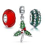 [ブリング・ジュエリー] Bling Jewelryクリスマス ヨーロピアン スタイル チャーム ビーズ 3つ セット スワロスキー クリスタル スターリングシルバー 925ヒイラギ [インポート]