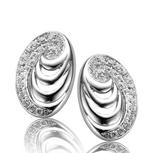 C.Z. (.925) S/S Oval Stud Micro Setting Earrings (Nice Holiday Gift, Special Black Firday Sale)