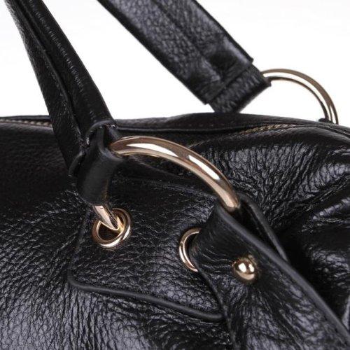 Plusminus Women's Tassel Zipper Shoulder Strap Handbag Black