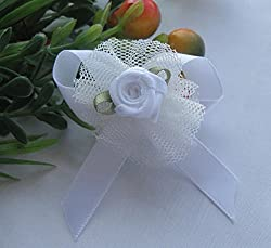 20pcs Upick Ribbon Bows Flowers Rose Appliques wedding Sewing Craft