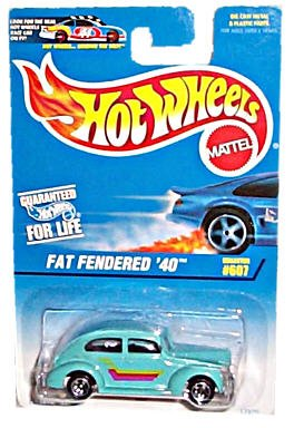 Hot Wheels - Fat Fendered '40 - 1:64 Scale Car Replica - Collector #607 - Turquoise Body Color - 5-Spoke Wheels - Made in China