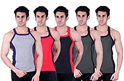 Zimfit Superb Gym Vests - Pack of 5 (GRY_RED_BLK_GRN_GRN_95)