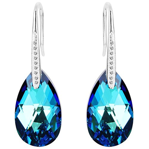 EleQueen 925 Sterling Silver CZ Teardrop Shepherd Hook Dangle Earrings Bermuda Blue Adorned with Swarovski Crystals (Bermuda Blue Crystal Ring compare prices)