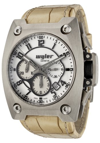 Men's Code R Automatic Chronograph White Dial Beige Alligator