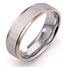 buy Gemini Groom Or Bride Muti Tone Rose Gold & Silver Couple Promise Anniversary Wedding Ring Width 6Mm Size 8.25 Valentine'S Day Gift