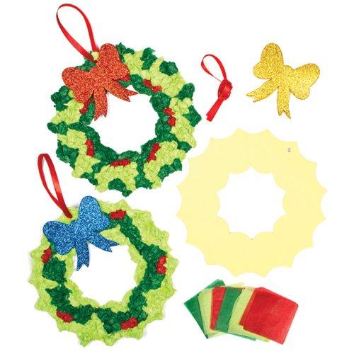 Bastelset für Weihnachtskranz aus Seidenpapier für Kinder zum Selbermachen und als Türschmück (für 3 Stück)