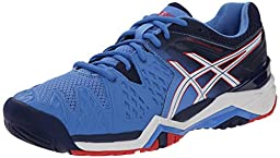 ASICS Women\'s Gel Resolution 6 Tennis Shoe, Powder Blue/White/Hibiscus, 8.5 M US