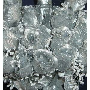 84 Silk Rose Flowers w/Raindrops - Wedding Flowers - Bridal/Floral - Silver