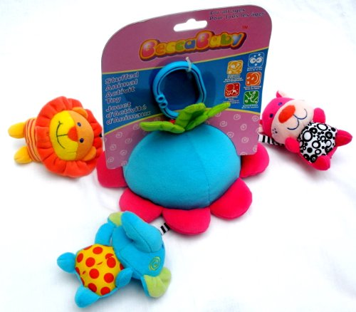 Infant Baby Plush Stuffed Animals & Mirror Clip On Stroller Pram Toy -Blue Elephant Pink Tiger & Lion