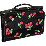 Silverhooks Hanging Travel Cosmetic Case Bag (Black/Red Cherry Print)