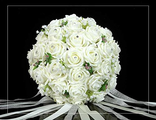 Coeus 30pcs of Rose Ivory Roses and Babysbreath Bouquet-bridal Wedding Bouquest Bouquet-bridal Wedding Bouquest Bouquet Toss Bouquet