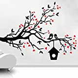 Decal Style Loving Sparrows With A Bird House Wall Sticker Medium Size-21*16 Inch