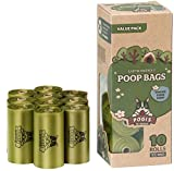 Pogis Poop Bags - 10 Rolls (150 Bags) - Large, Earth-Friendly, Scented, Leak-Proof Pet Waste Bags