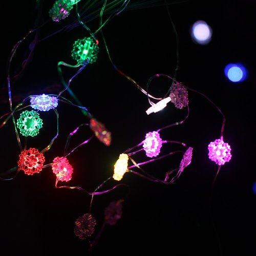 Dfl 20 Snowflake Led String Wire Lights Work With 3Xaa Battery Operated,7 Color Changing And Watertightness,7Ft Long