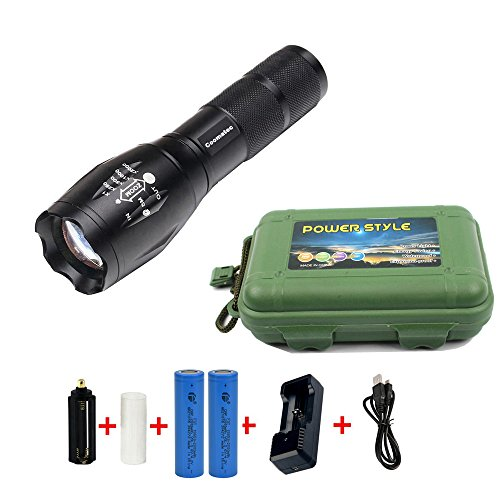 Coomatec SD-100 900 High Lumens Ultra Bright - LED Tactical Flashlight kit (Portable Outdoor Water Resistant Torch) with Adjustable Focus and 5 Light Modes for Camping Hiking etc
